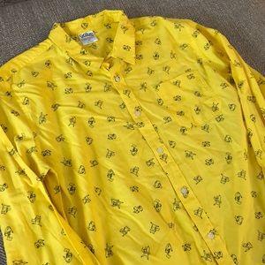 Pokémon Men's Button Down Shirt Yellow Pikachu